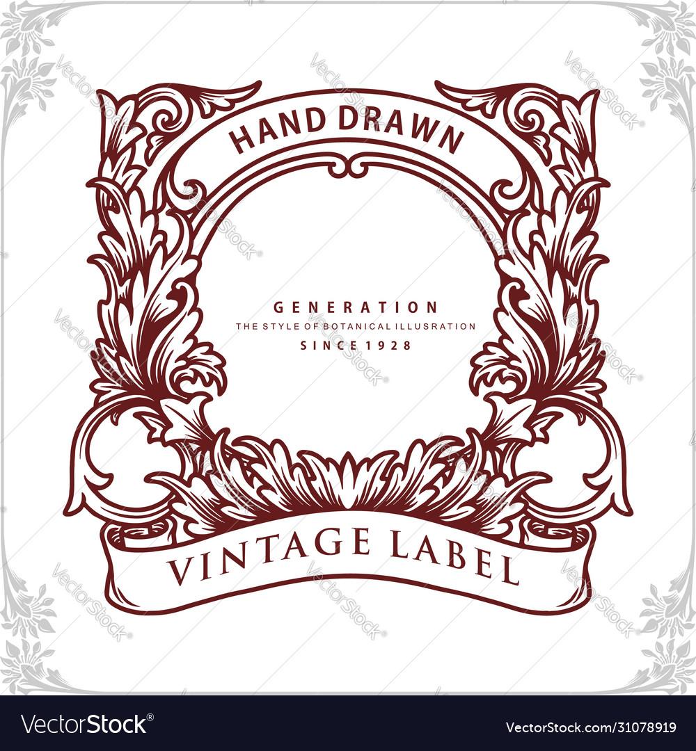 Frame design botanical vintage label banner