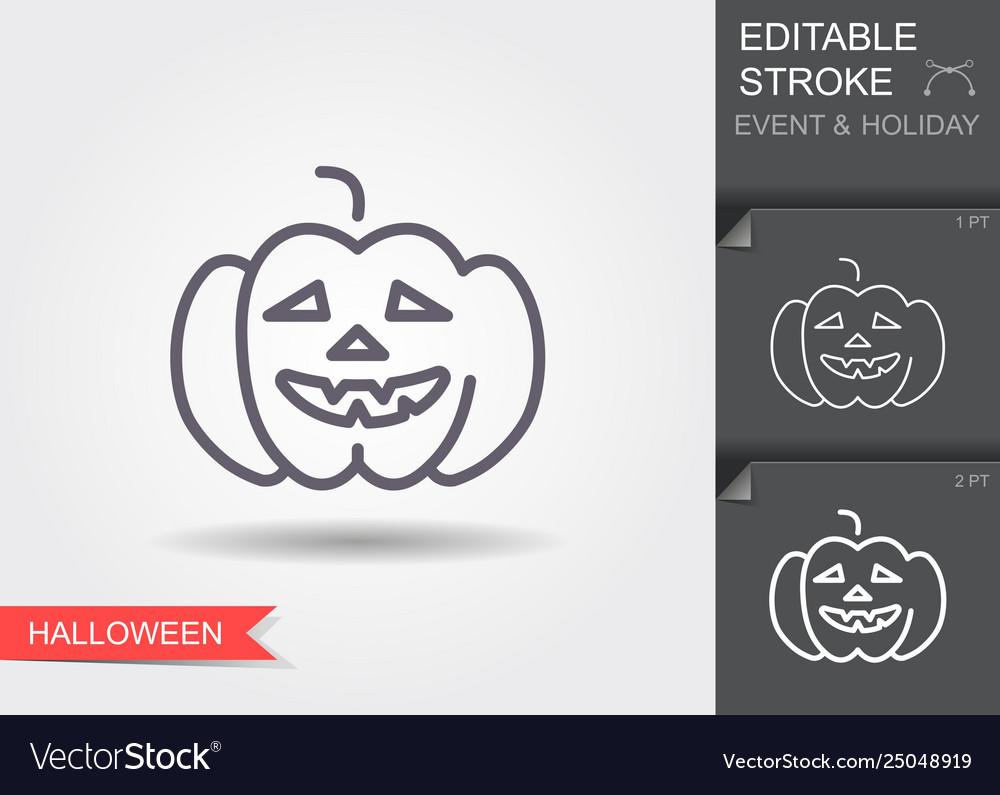 Halloween pumpkin line icon with editable stroke
