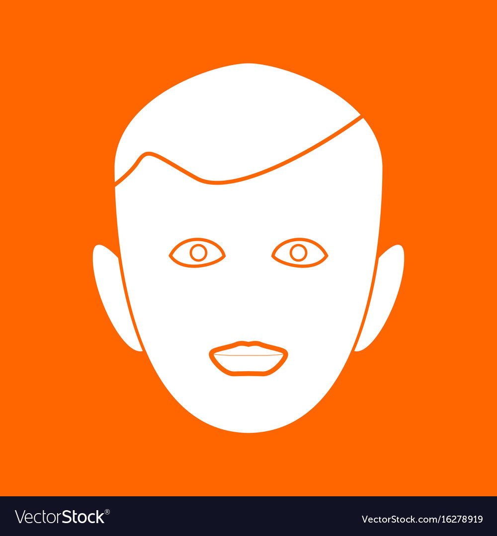 Little boy face white icon vector image