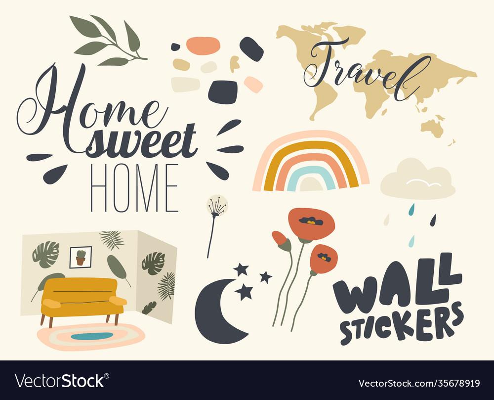Set icons wall stickers theme decorative