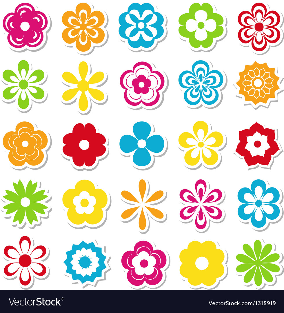 Set of bright flower stickers
