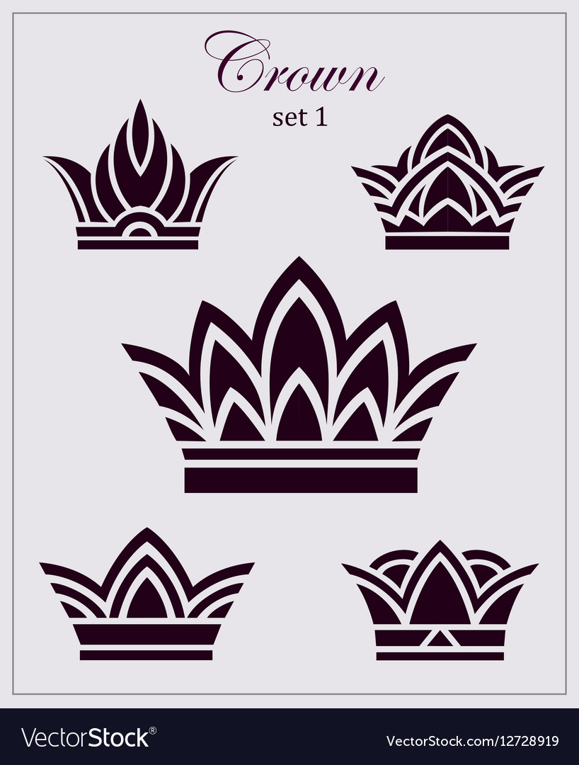 Stylized drawings of crowns a set icons on
