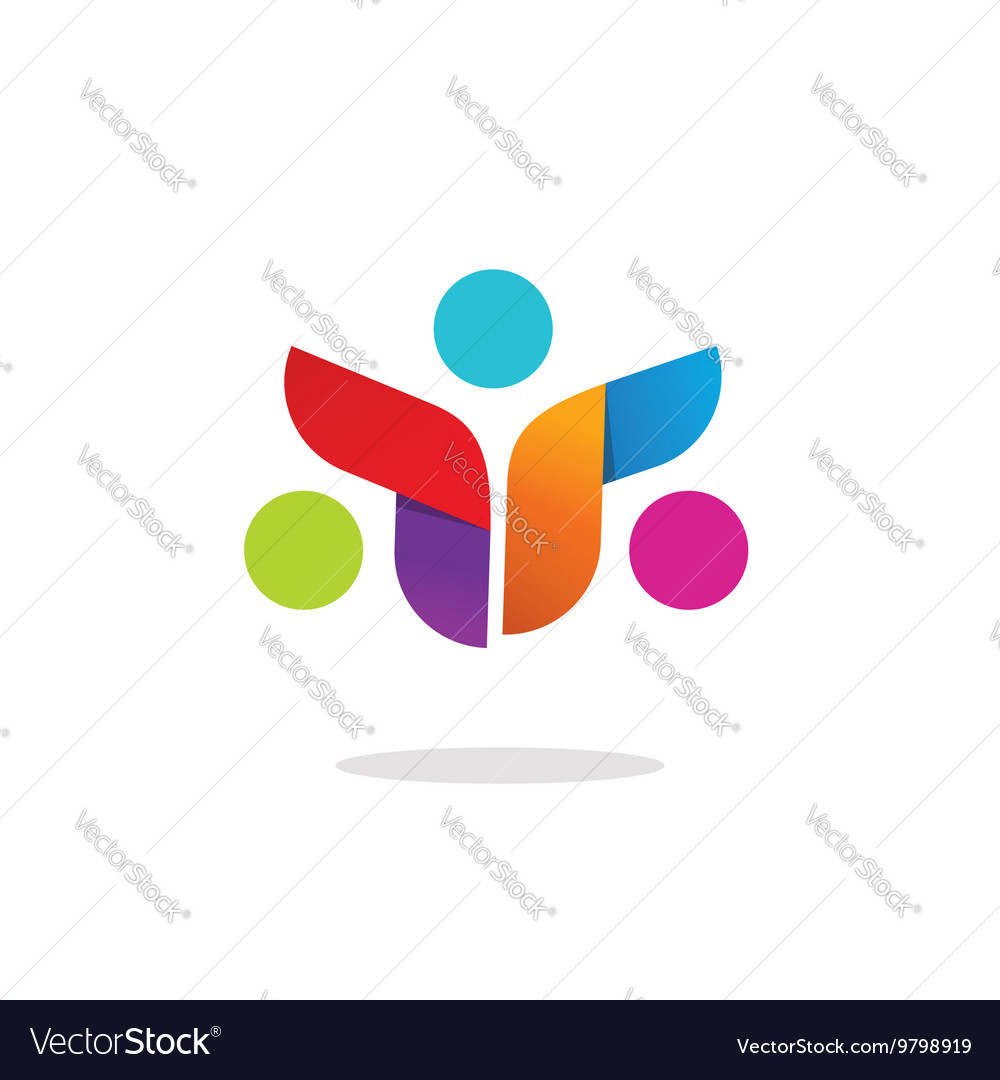 Three people community logo abstract symbol