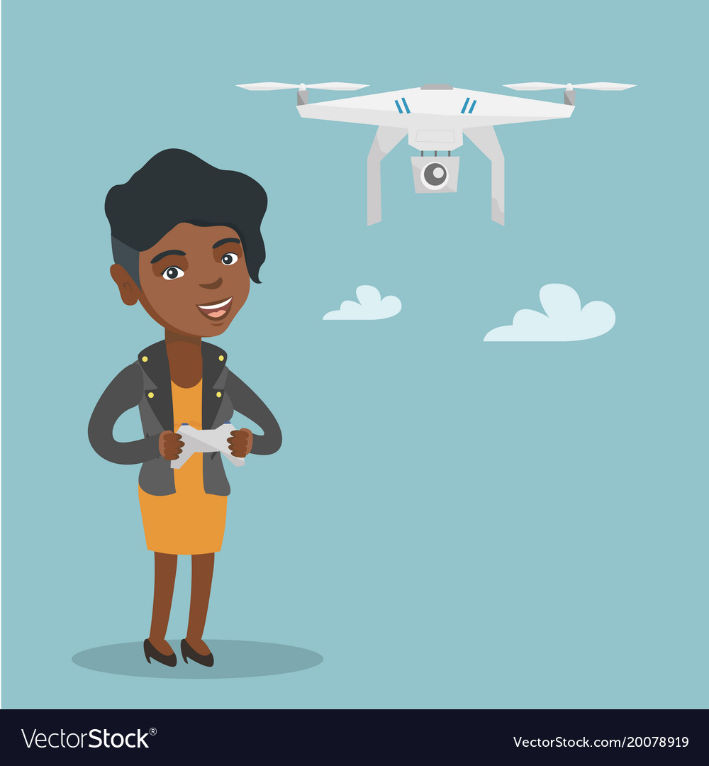 Young african-american woman flying drone