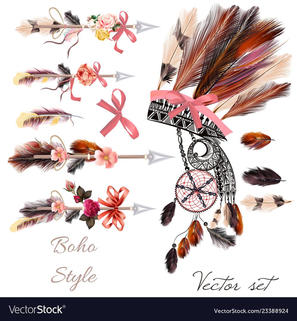 Boho fashion set from decorative elements