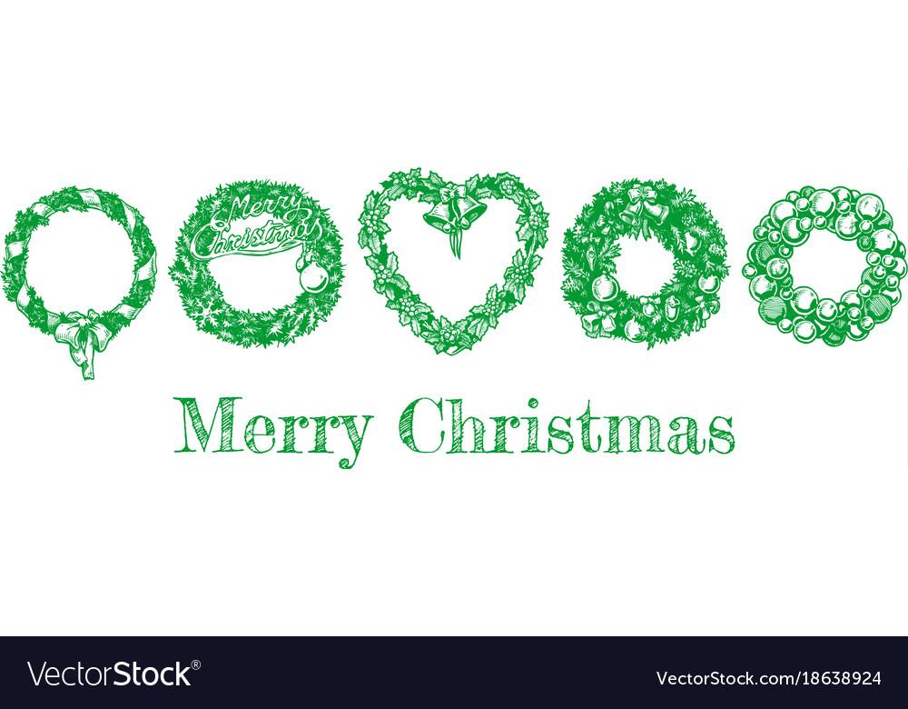 Christmas hand drawn wreath set