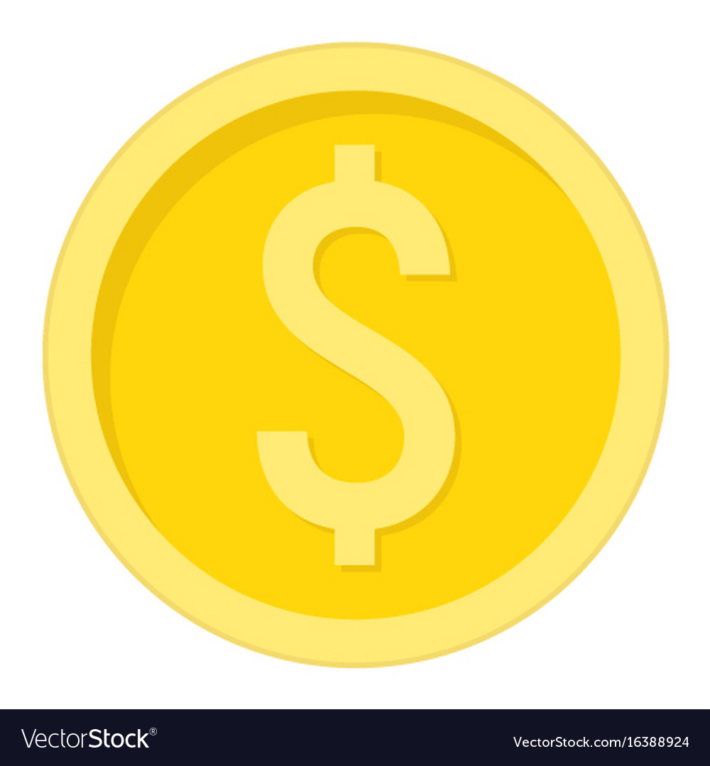 Coin dollar flat icon business and finance money