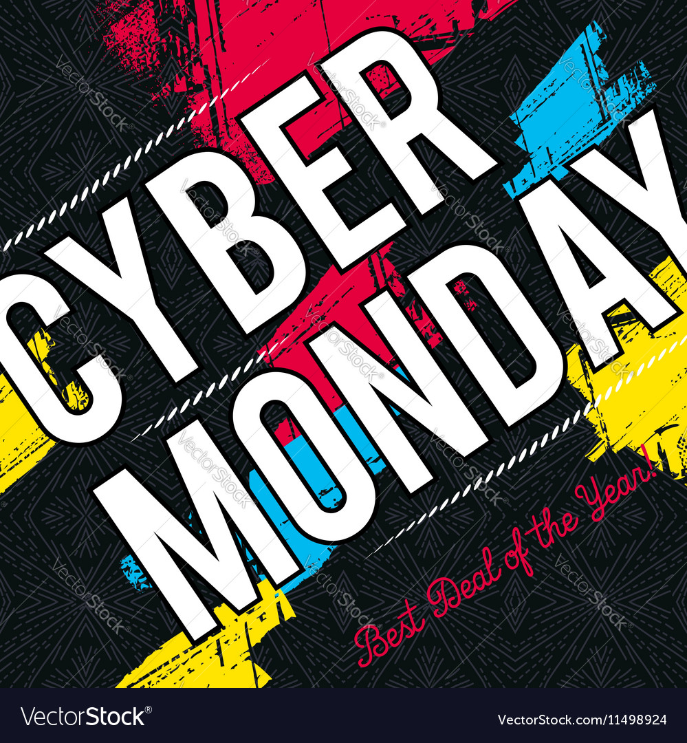 Cyber Monday sale banner on black background vector image