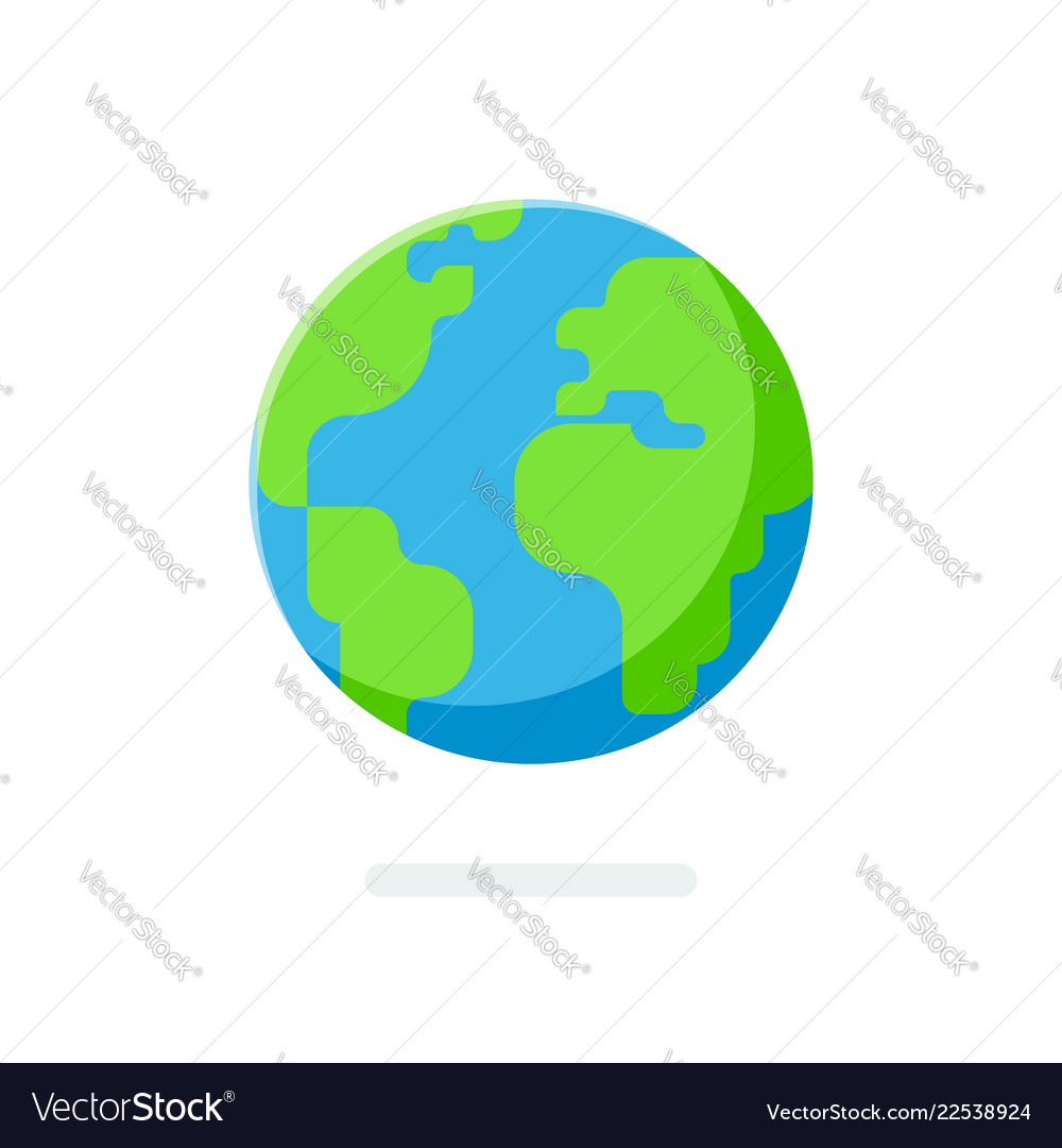 Flat style earth globe icon spherical world map