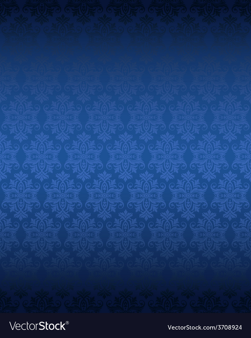 Luxury Seamless Blue Floral Wallpaper Royalty Free Vector