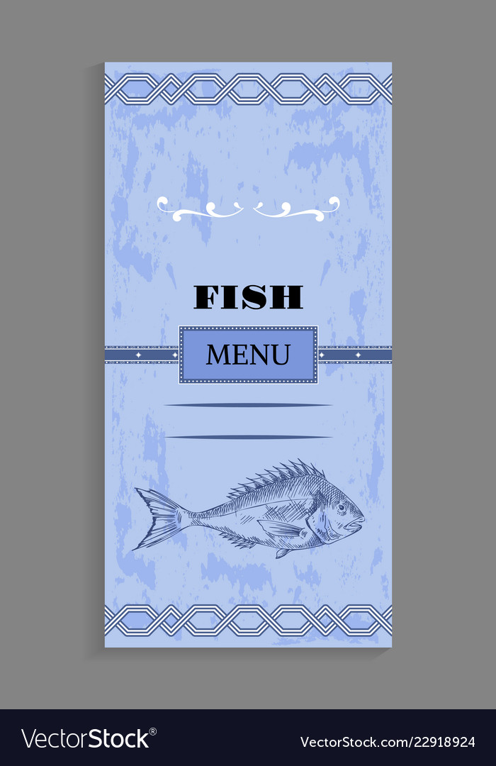 Ornate Fish Menu Concept For Seafood Restaurant Vector Image
