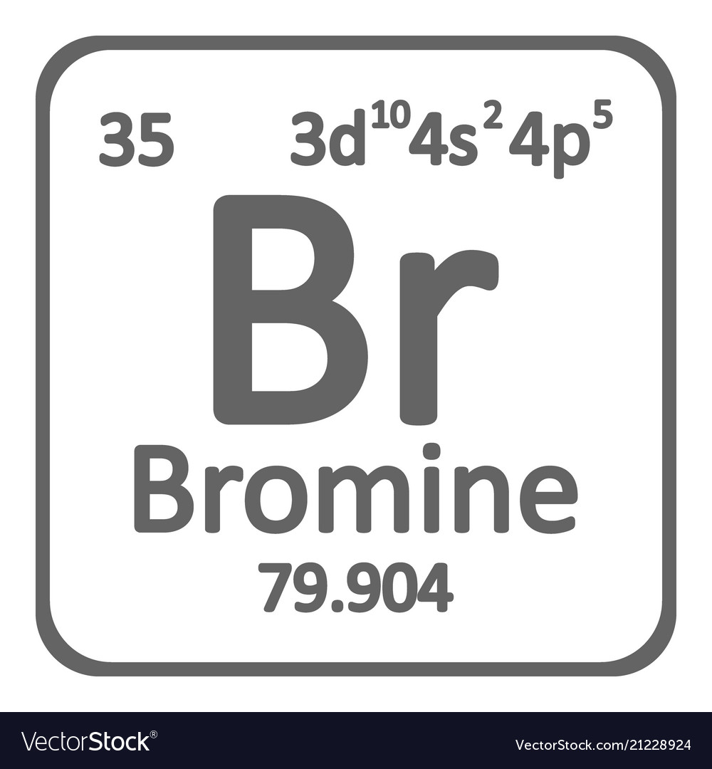 Periodic Table Element Bromine Icon Royalty Free Vector