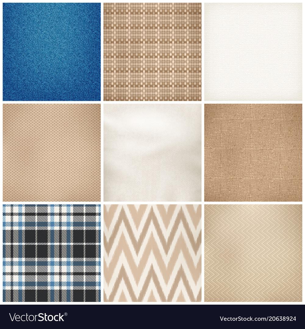 Realistic textile patterns texture set