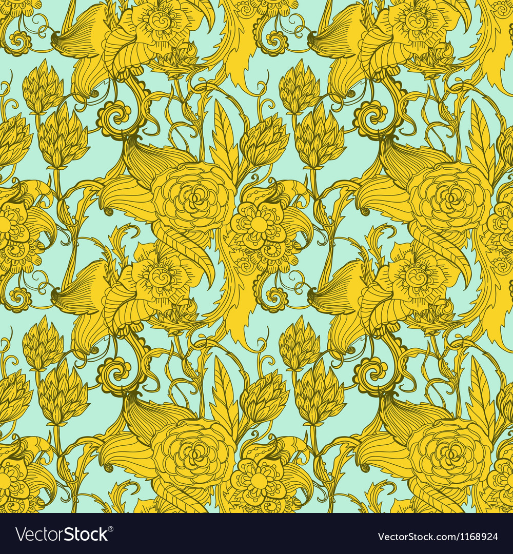 Seamless great floral pattern vector image
