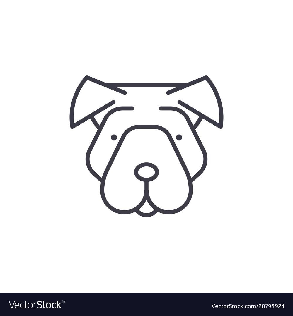 Shar pei line icon sign on