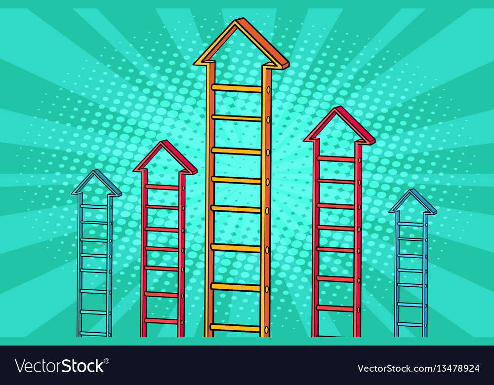 Staircase arrow graph growth vector image