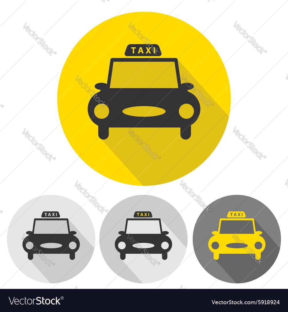 Taxi car flat icons set