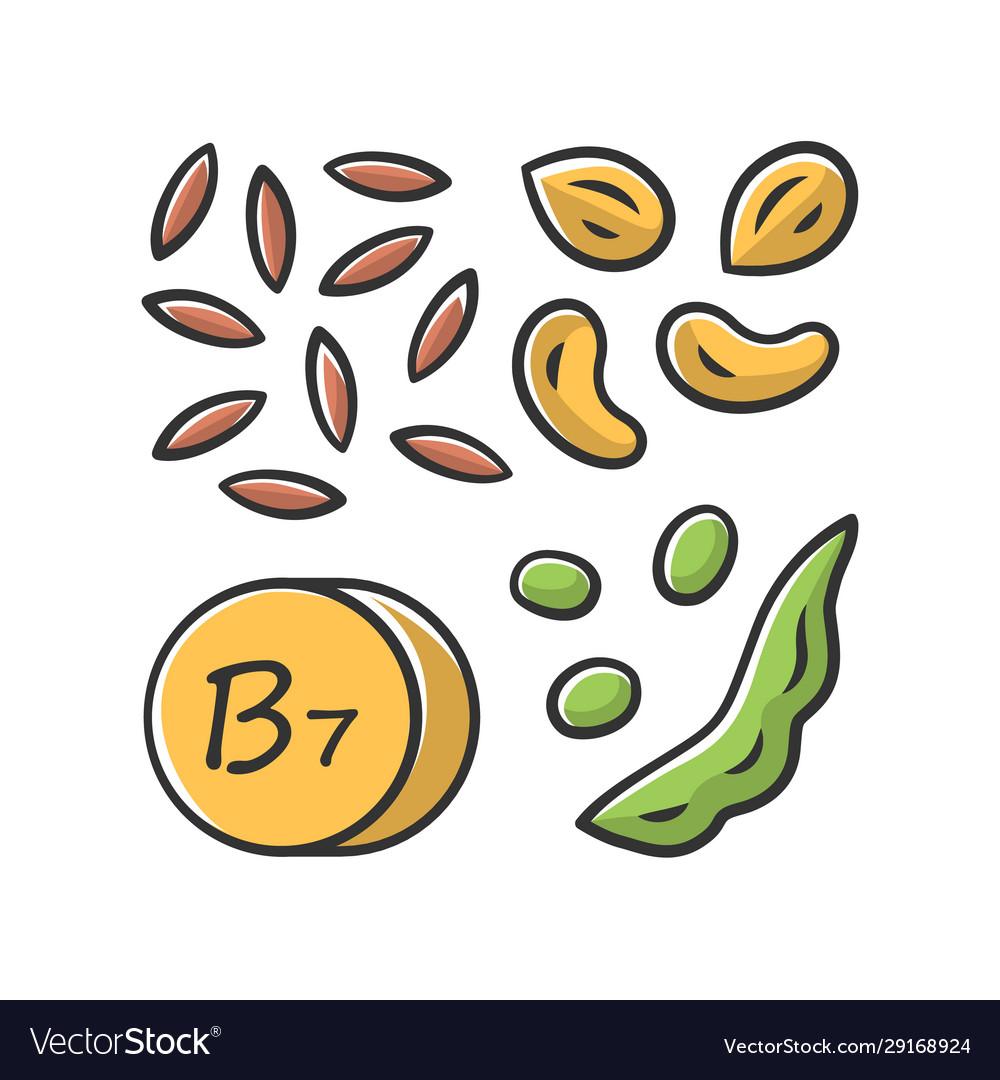Vitamin b7 yellow color icon almonds and peanuts