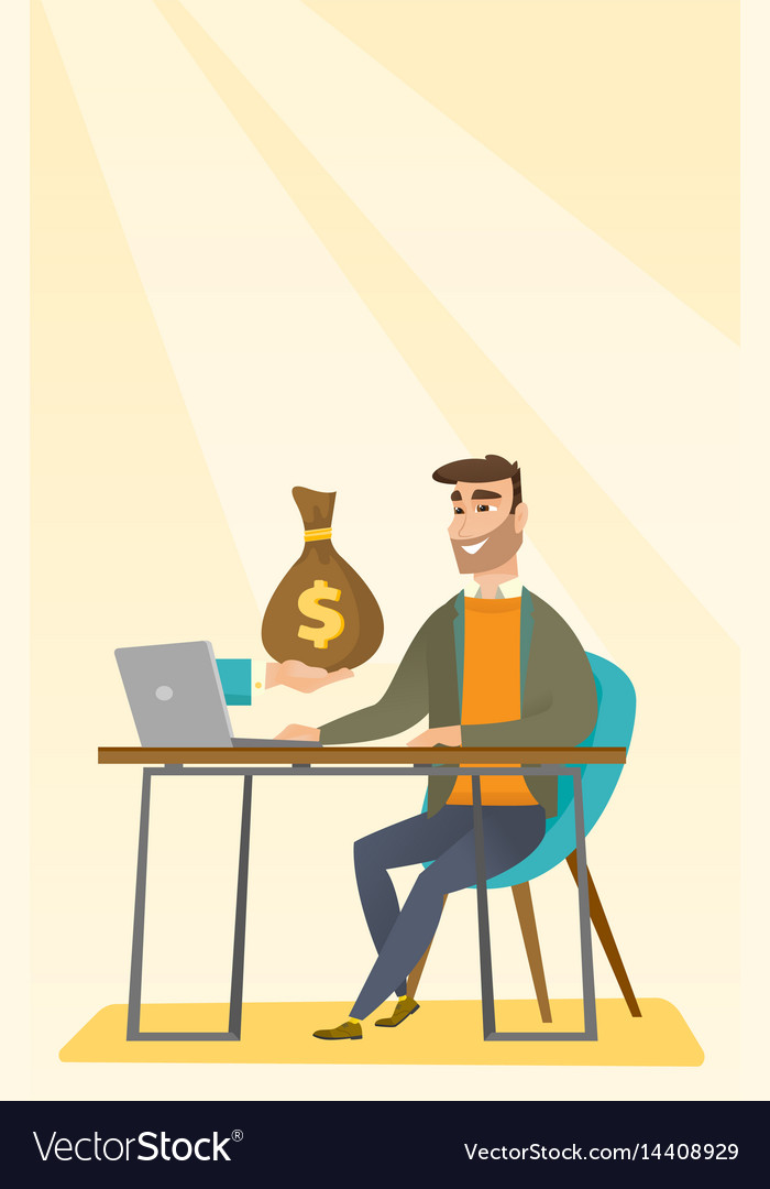 Businessman earning money from online business