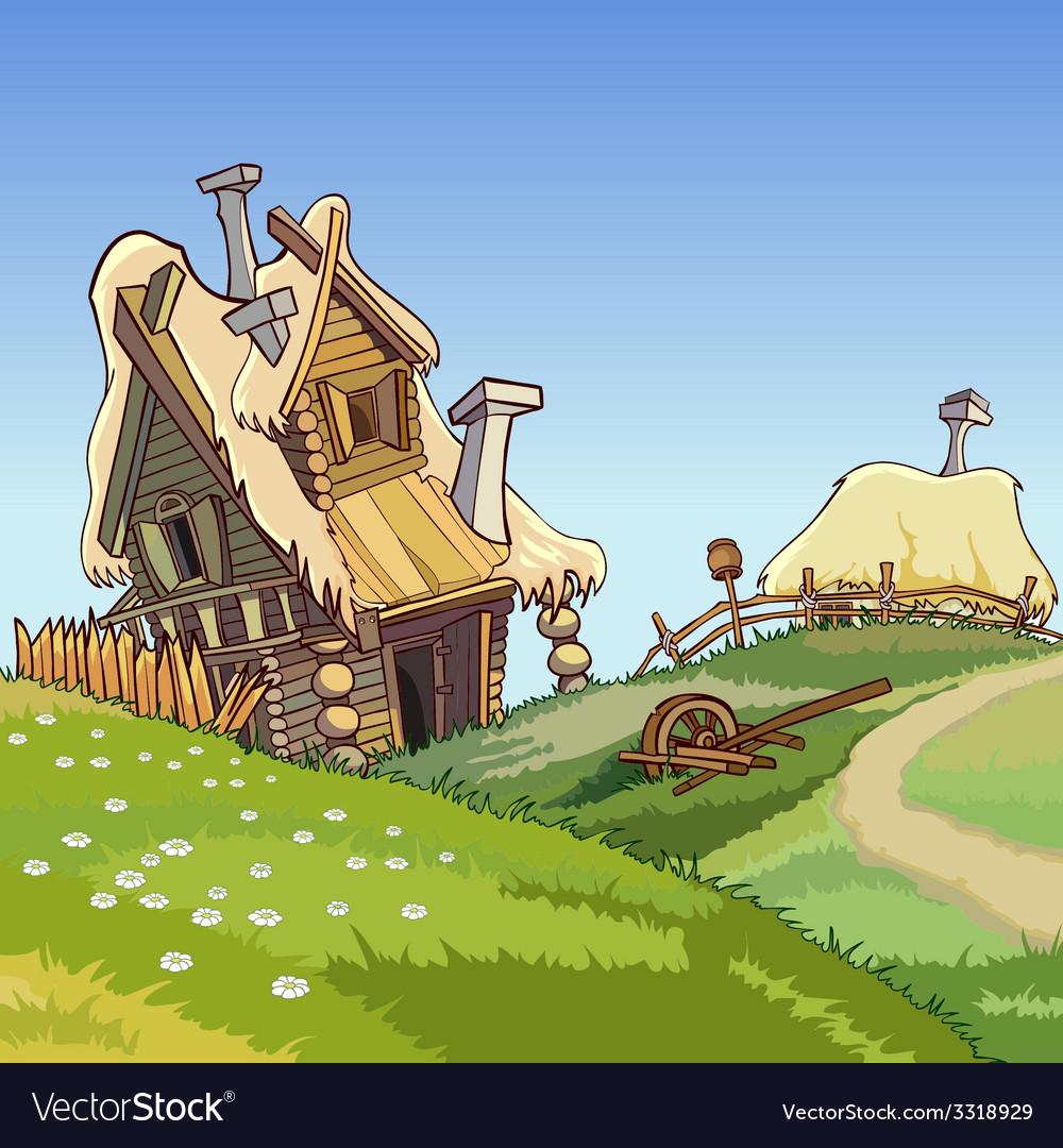 Cartoon Village Houses Royalty Free Vector Image