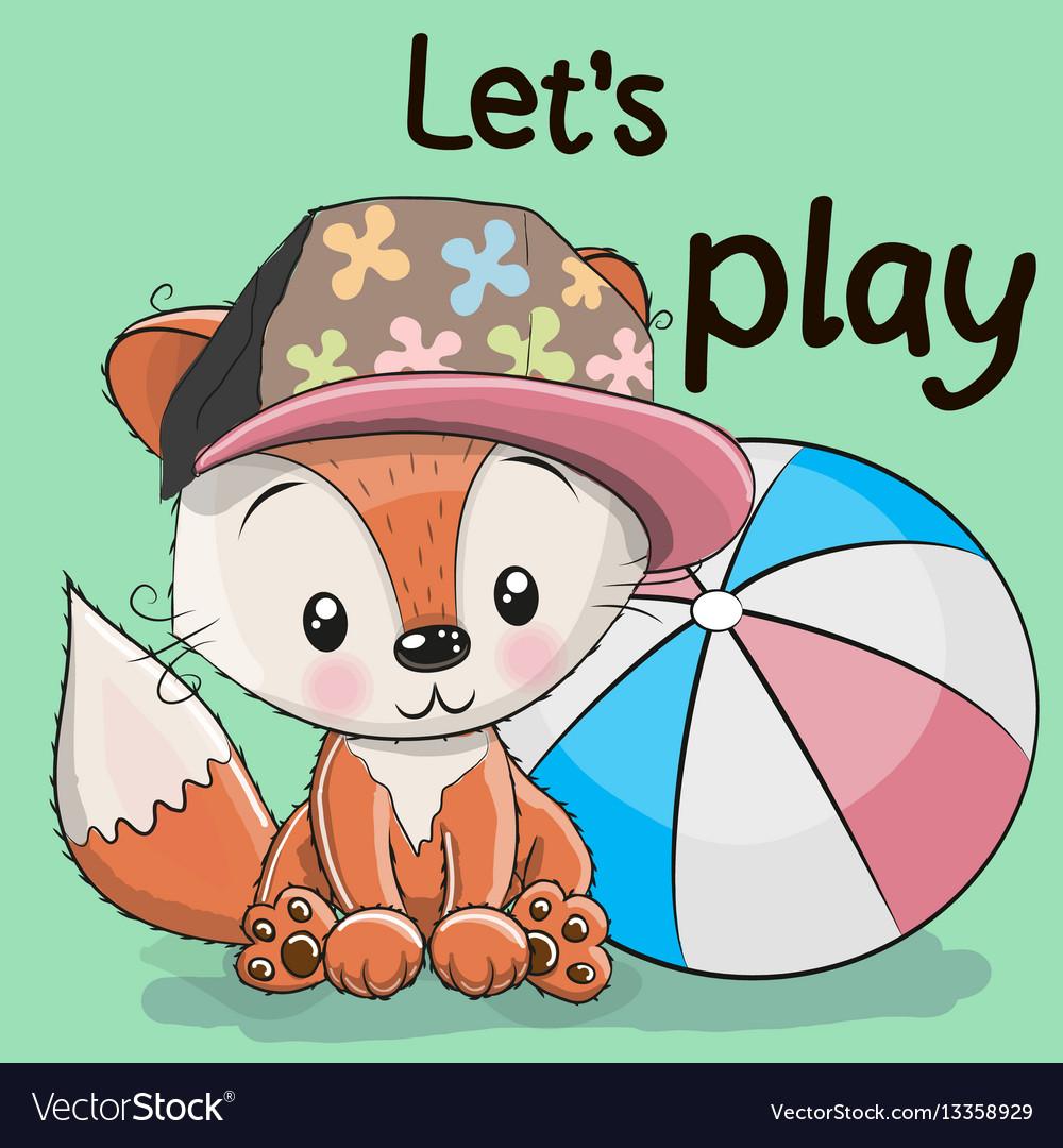 Cute fox with a ball