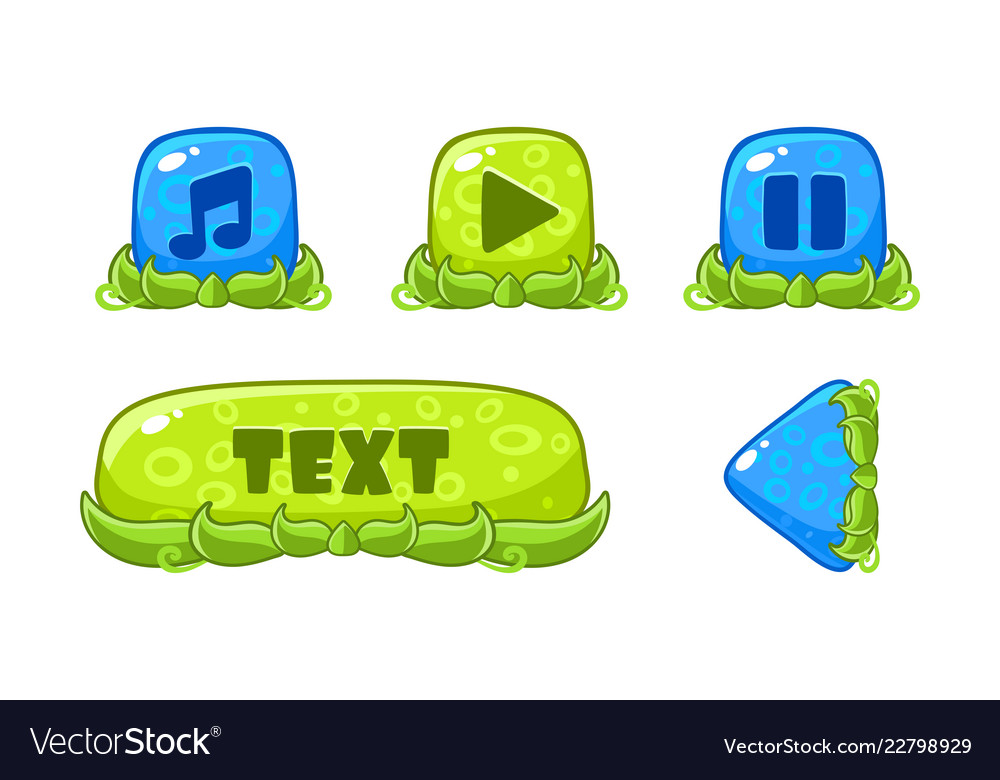 Cute green and blue glossy buttons set user