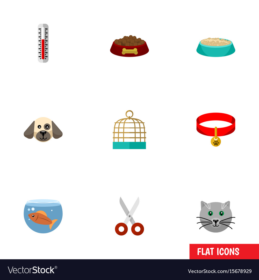 Flat icon pets set of kitty temperature