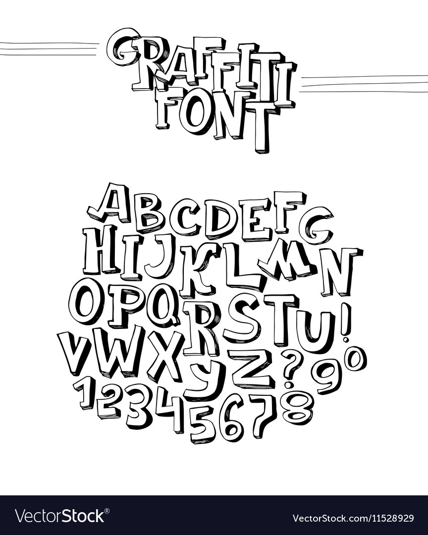 Graffiti font abc letters from a to z and numbers vector image