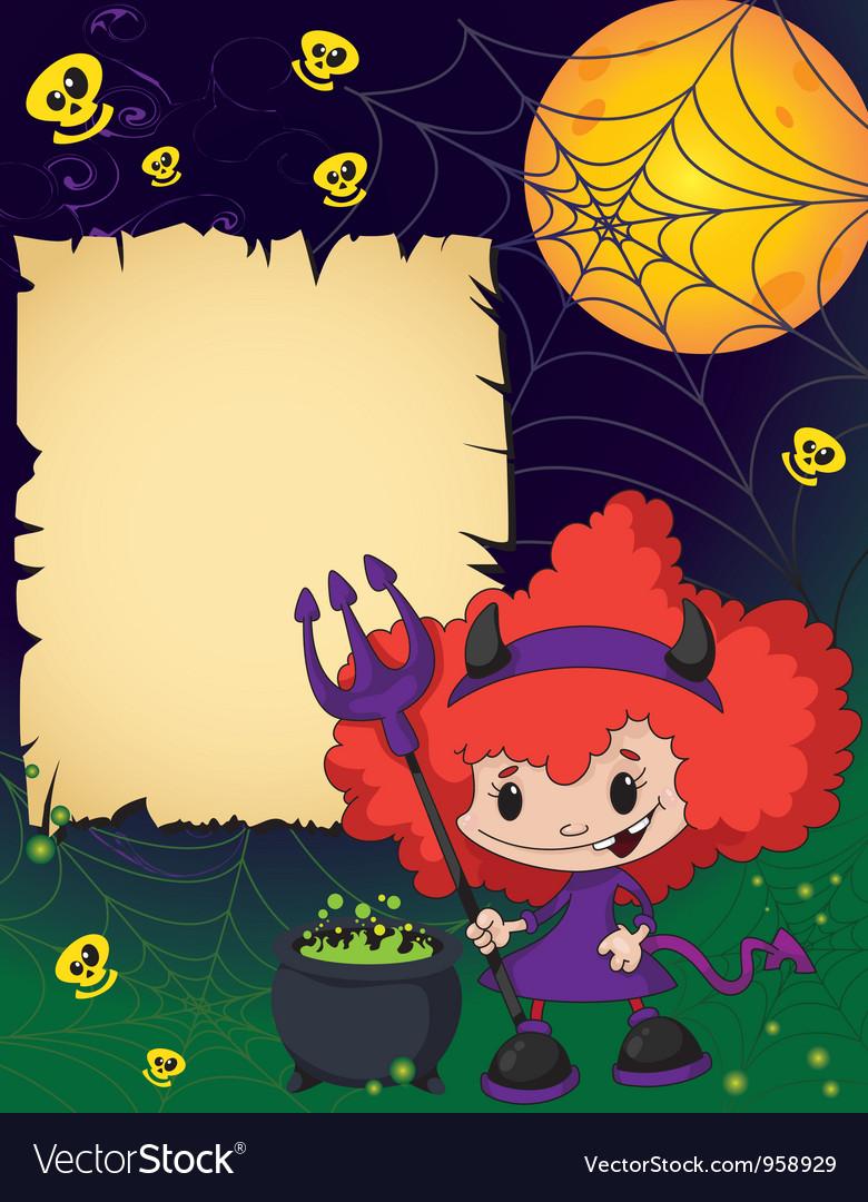 Halloween cute devil girl vector image