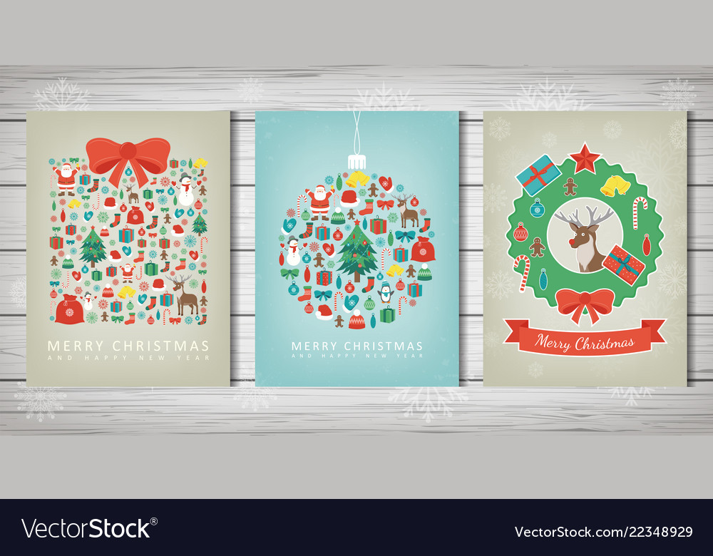 Merry christmas set greeting card collections