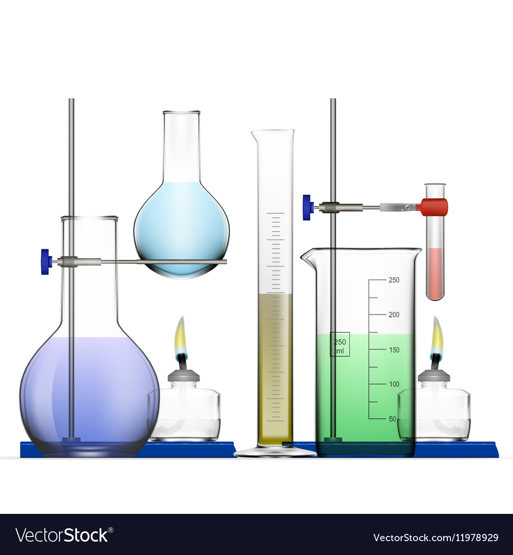 Realistic Chemical Laboratory Equipment Set Glass