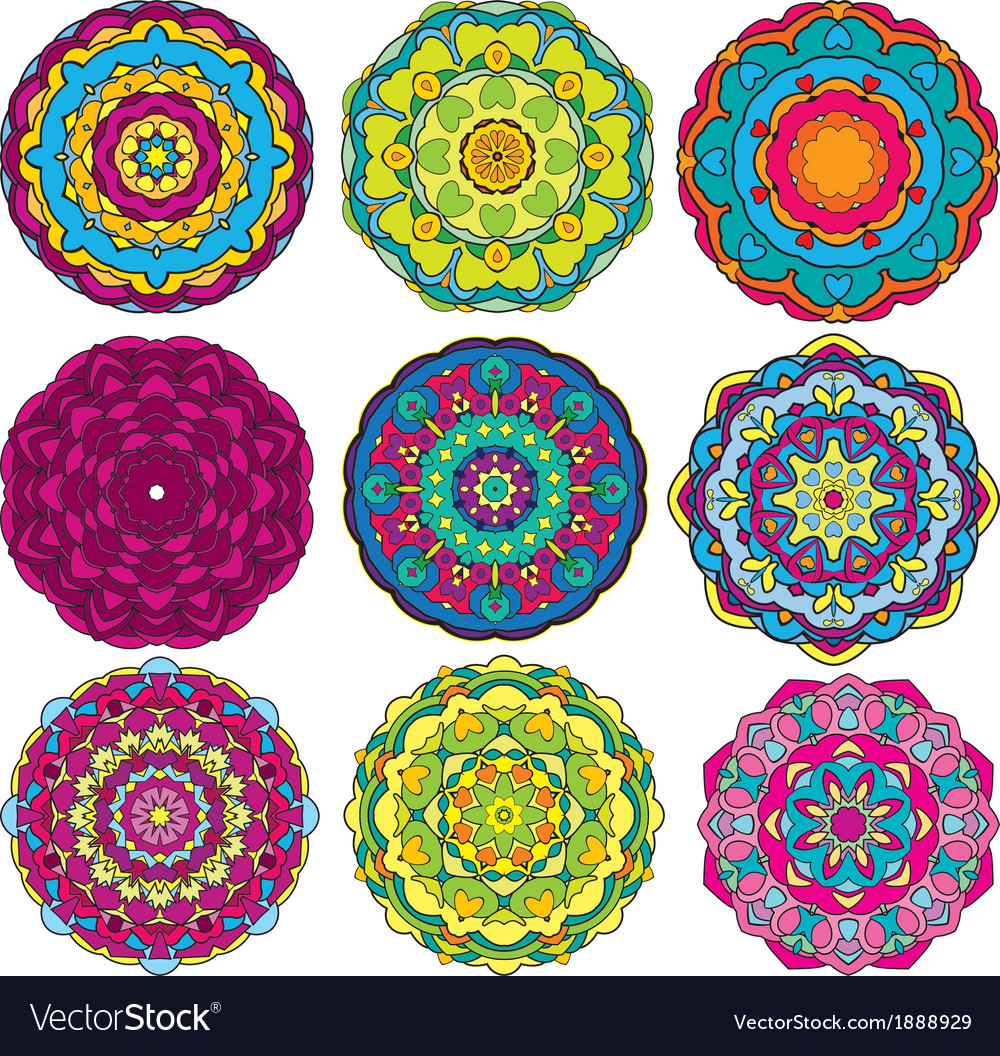 Round ornaments kaleidoscope floral patterns