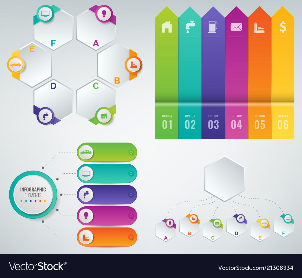 3d Infographics Templates Set Business Royalty Free Vector