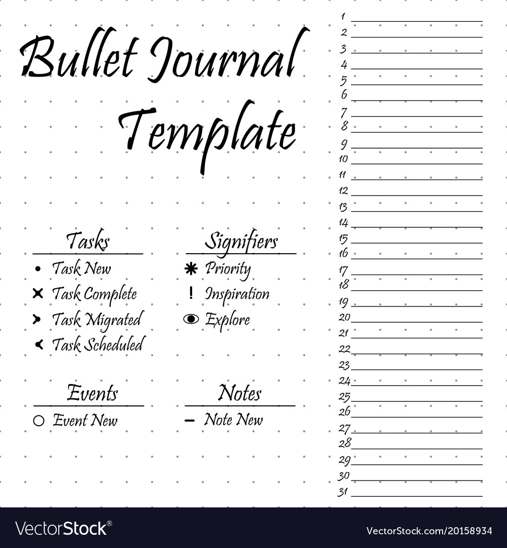 It's just a photo of Fabulous Bullet Journal Template