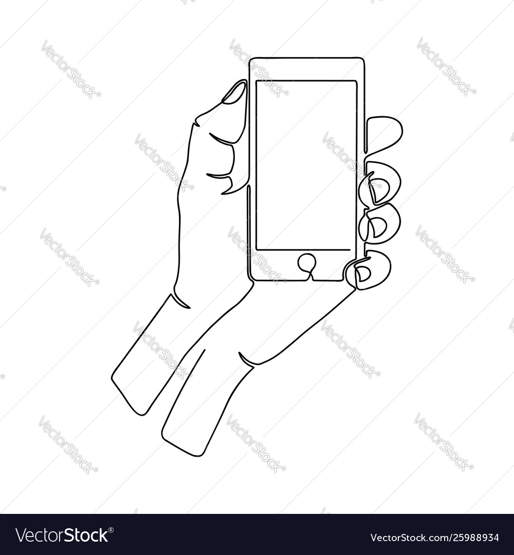 Continuous one line drawing hand with smartphone