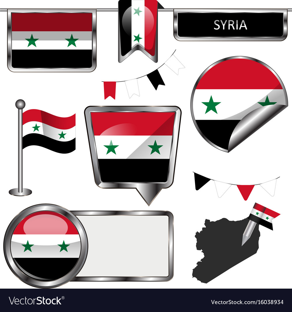 Glossy icons with flag of syria vector image
