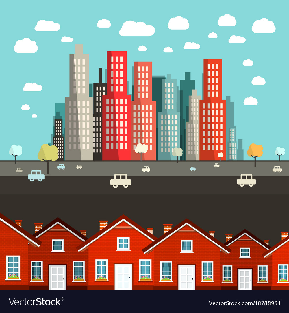 Houses with city on background vector image