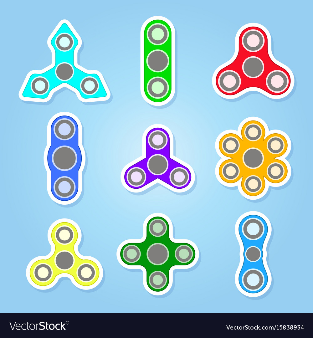 Icons set with fidget spinners
