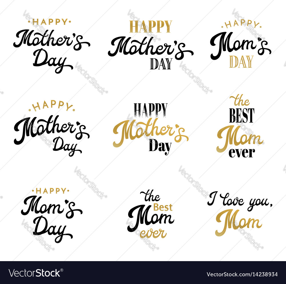Mothers day lettering calligraphic badges set