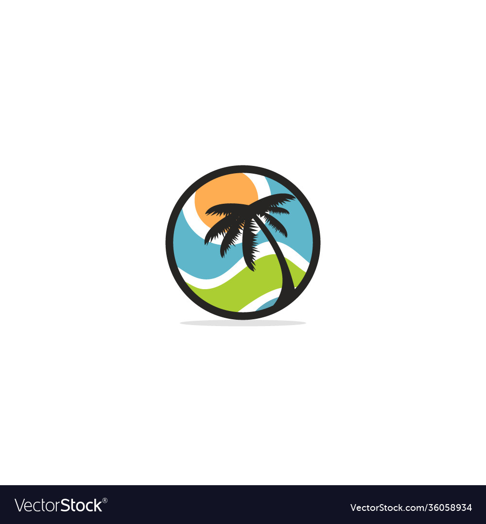 Palm tree nature plant logo