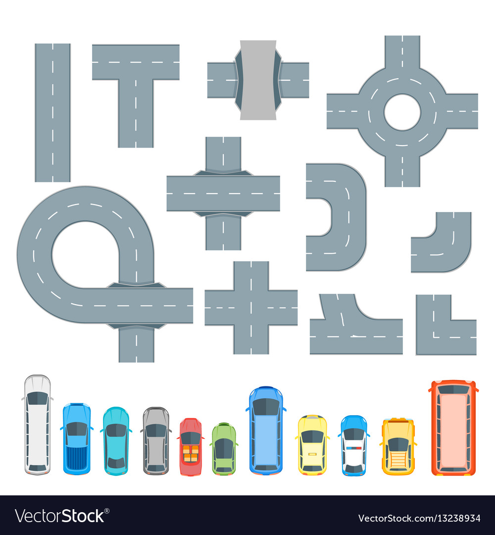 Road element and cars set top view vector image