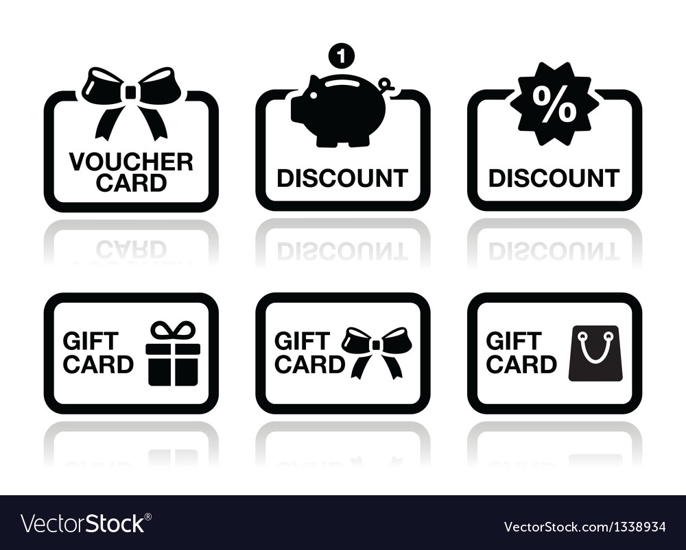 Voucher gift discount card icons set vector image