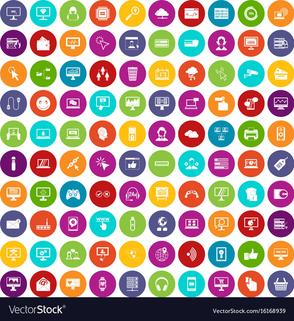 100 internet icons set color vector image
