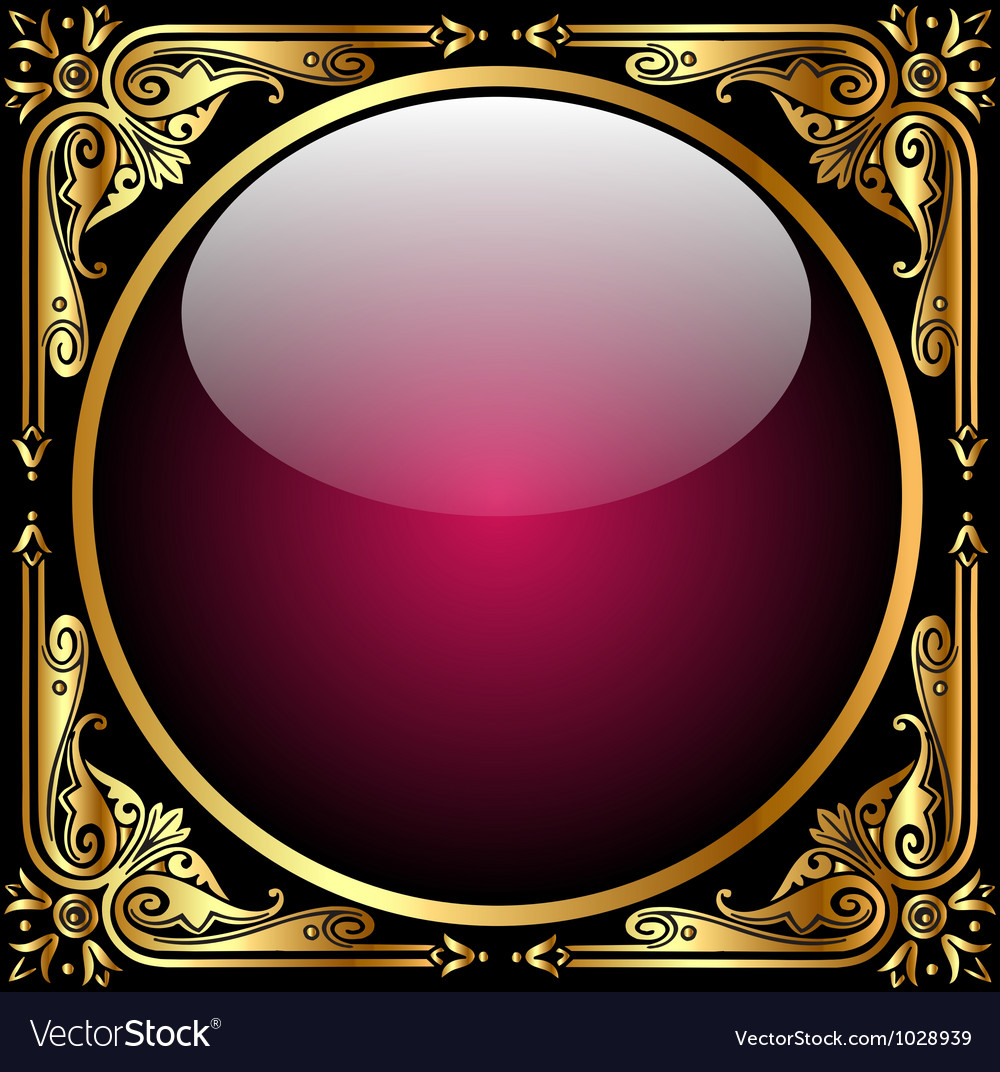 Abstract background with glass ball and golden pat