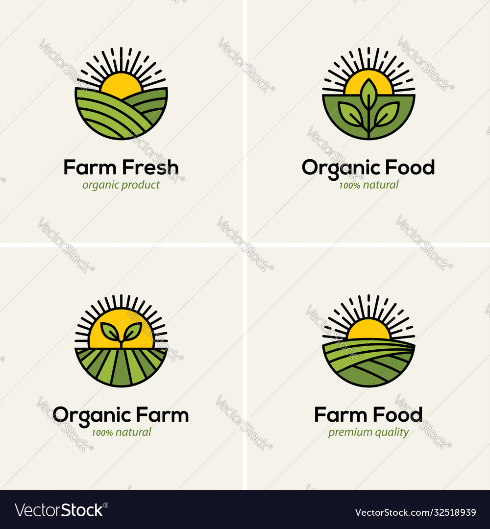 Agriculture and farming logo set