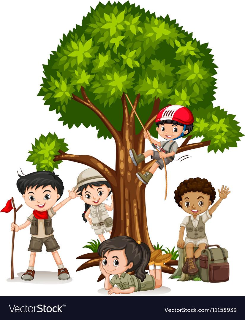 Boys and girls climbing tree