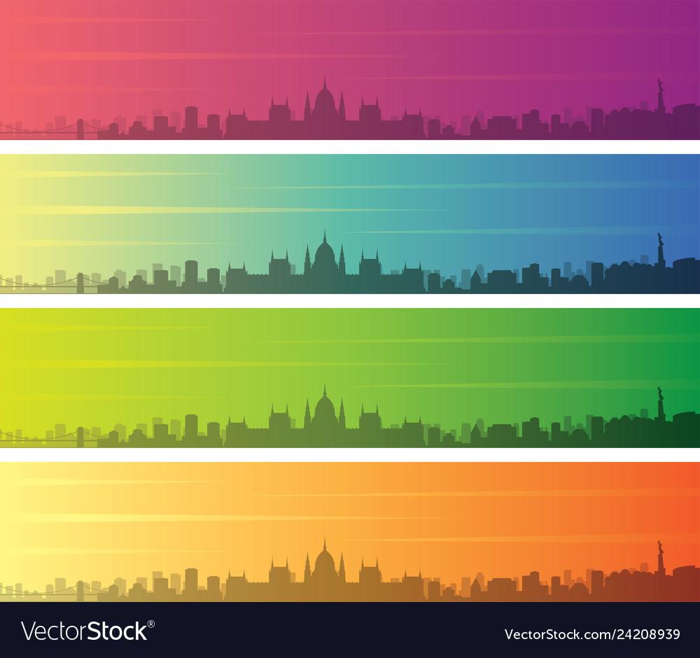 Budapest multiple color gradient skyline banner