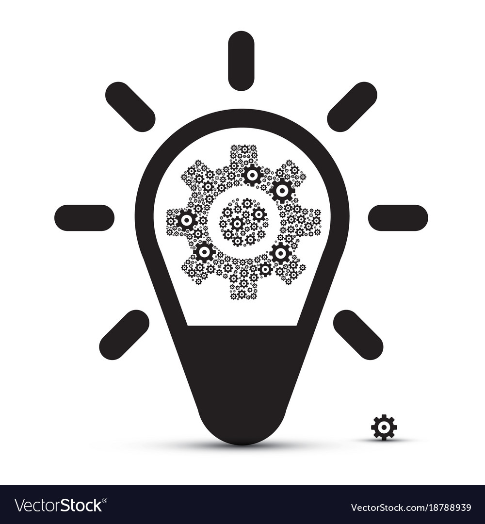Bulb with cogs vector image