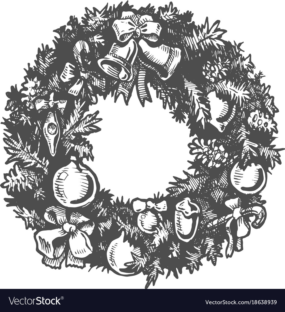 Christmas hand drawn wreath