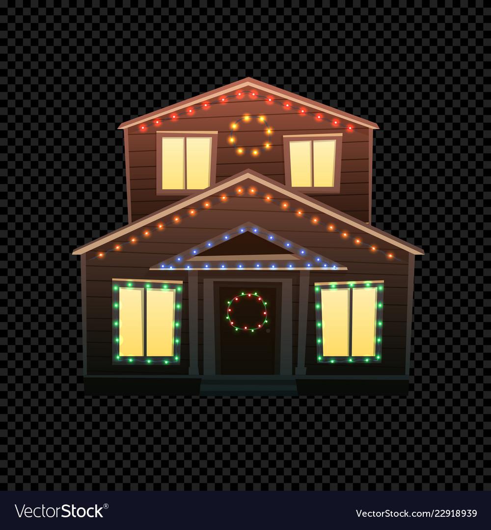 Christmas house isolated on dark